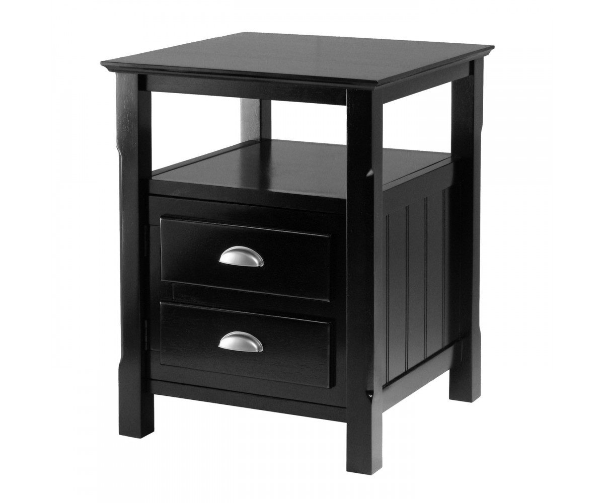 Winsome wood 20920 timber nightstand black for Black wood nightstand