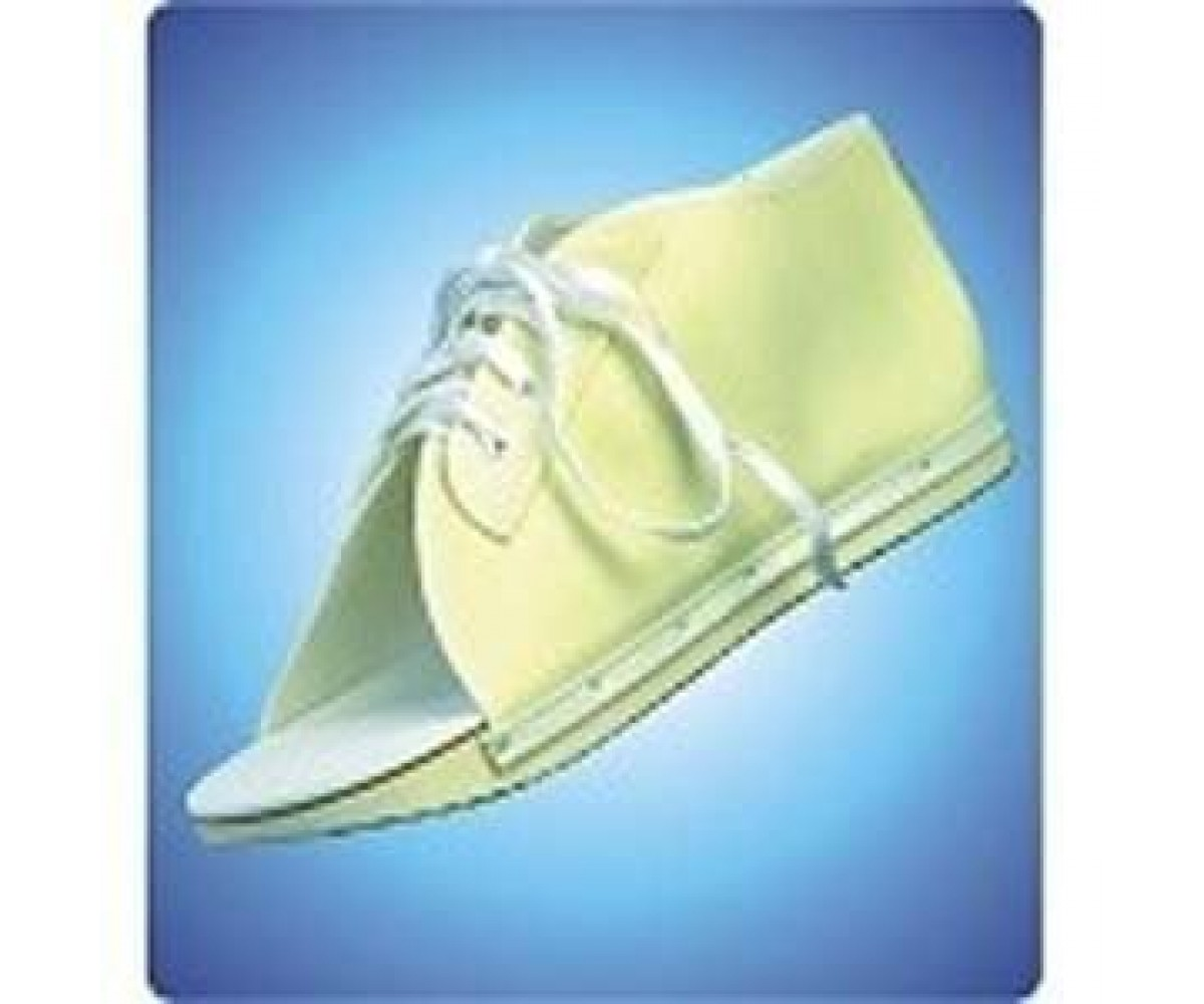 Cast Shoe - Large Post Op Lace Up Shoe. Strong Beige Vinyl Upper Full Slip