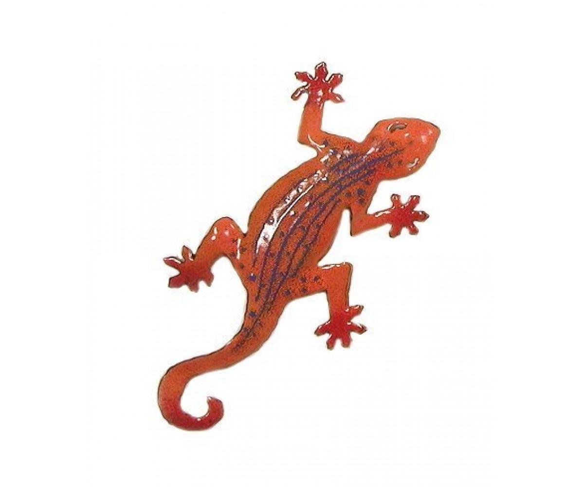 Bovano Enamel Wall Art Decor Small Orange Gecko