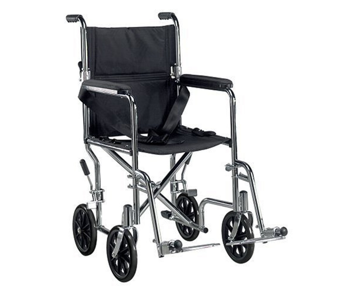 """Go Cart Light Weight Transport Wheelchair with Swing-away Footrest 17"""""""