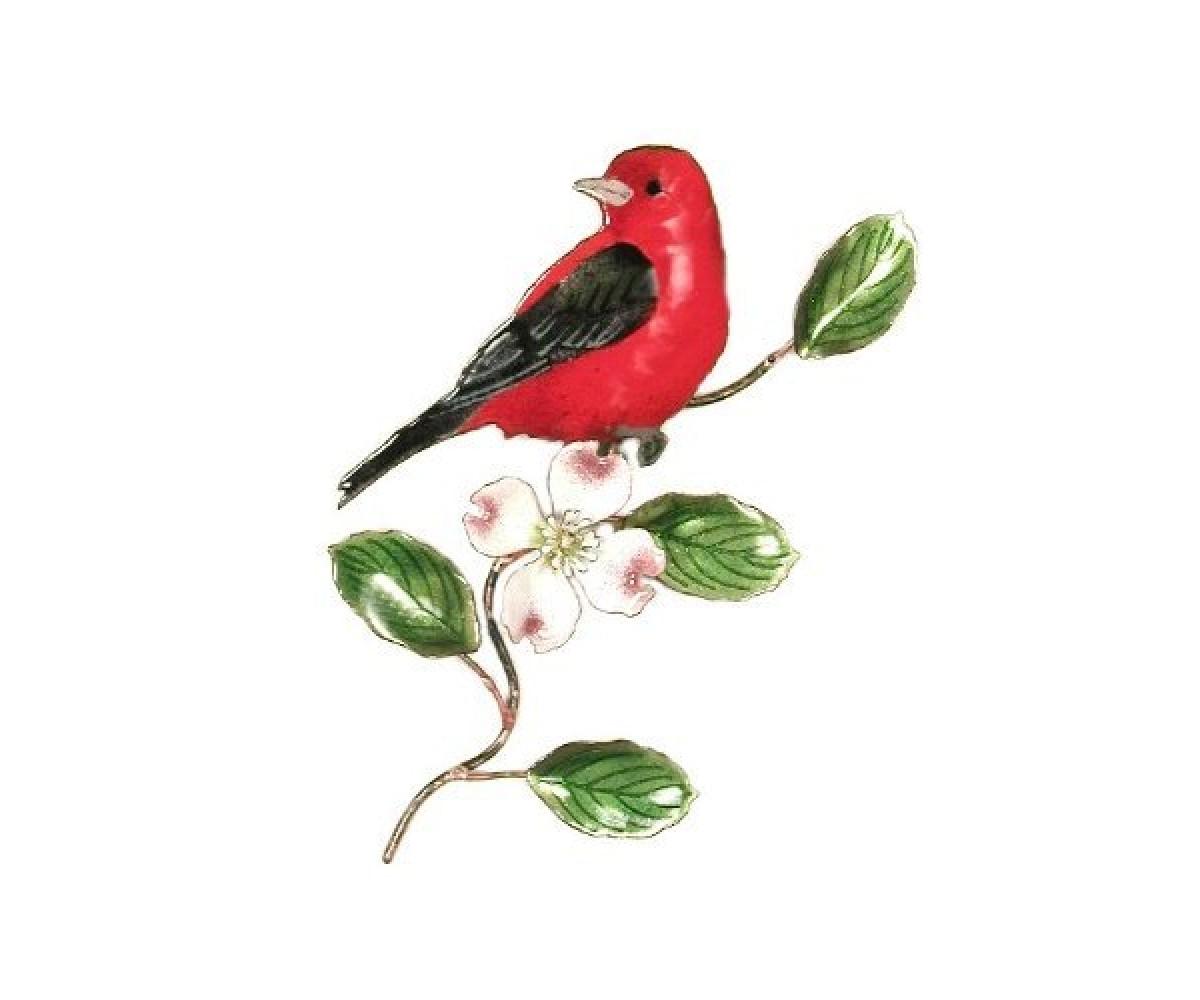 Bovano Enamel Wall Art Decor Scarlet Tanager Dogwood