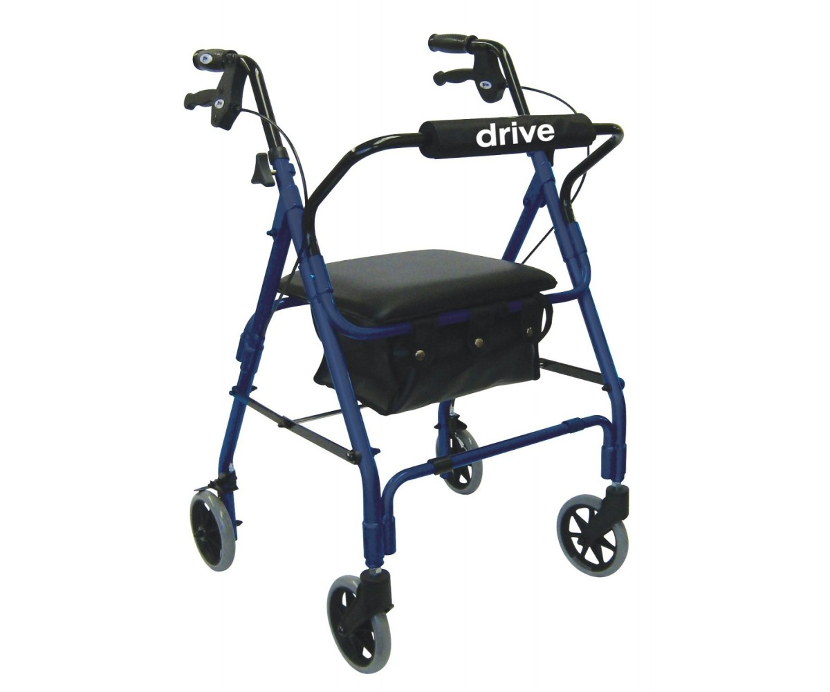 Drive Medical Lever Brake 4 Wheel Aluminum Rollator with Various Seating Option Padded