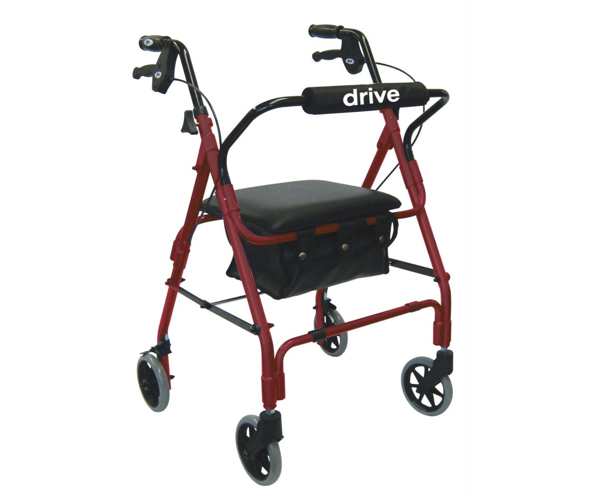 Drive Medical LBRD Lever Brake 4 Wheel Aluminum Rollator with Various Seating Option