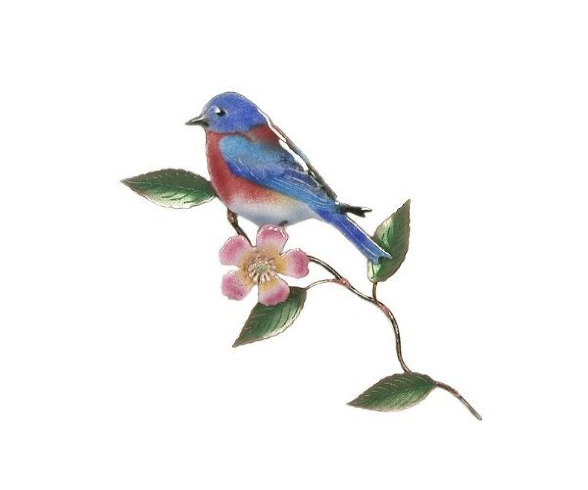 Bovano Enamel Wall Art Home Decor Western Bluebird With Rose