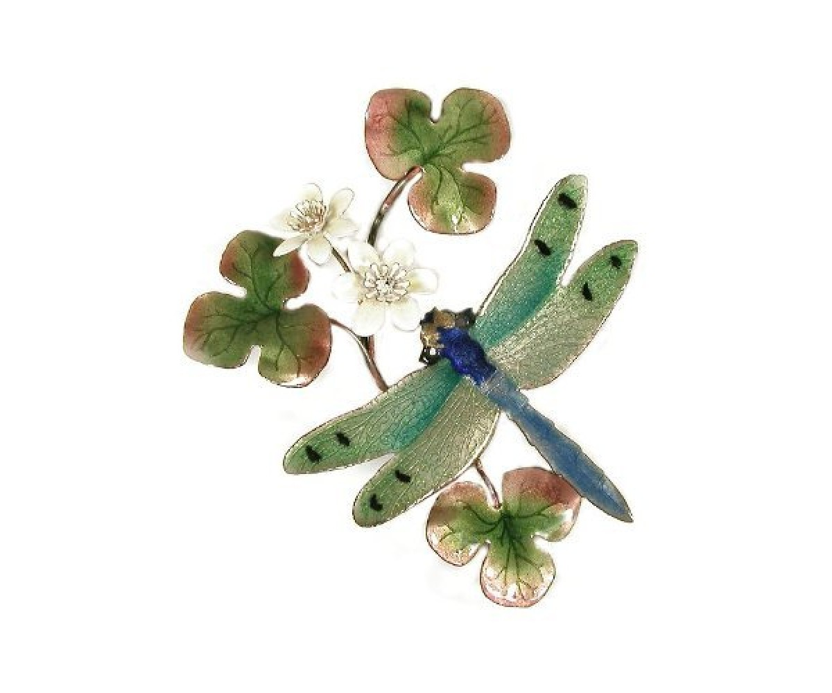 Bovano Enamel Wall Art Home Decor Green Dragonfly New