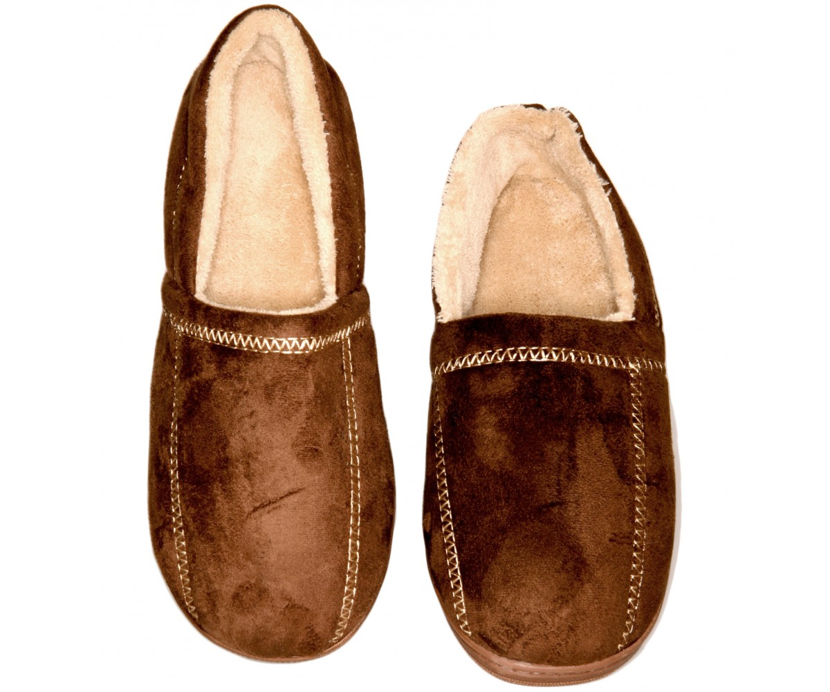 Men's Slipper Suede Fleece Brown