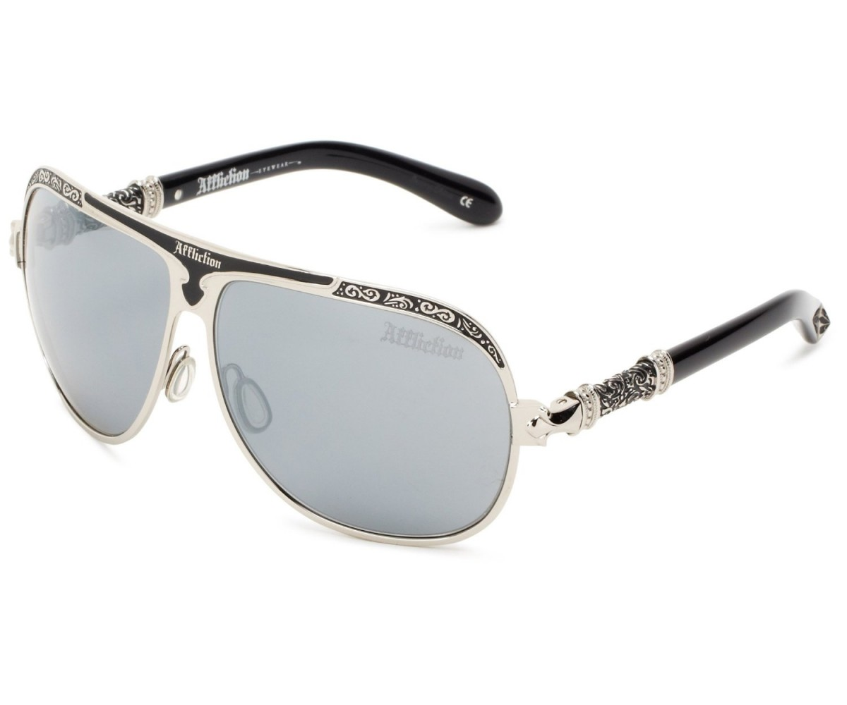 Affliction Sunglasses Roman Rectangular Sunglasses Silver & Black