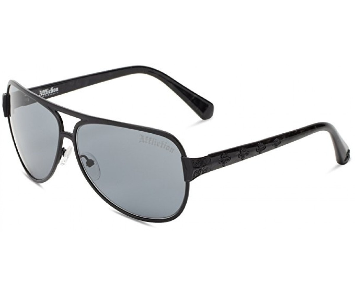 Affliction Sunglasses Warrior Aviator Gun & Black