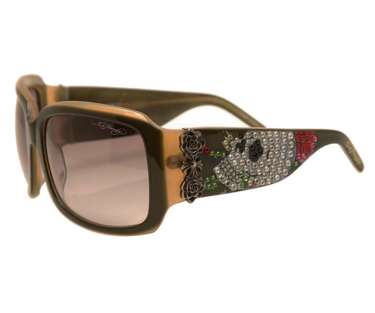EHS-001 Skull & Roses Sunglasses - Olive/Green