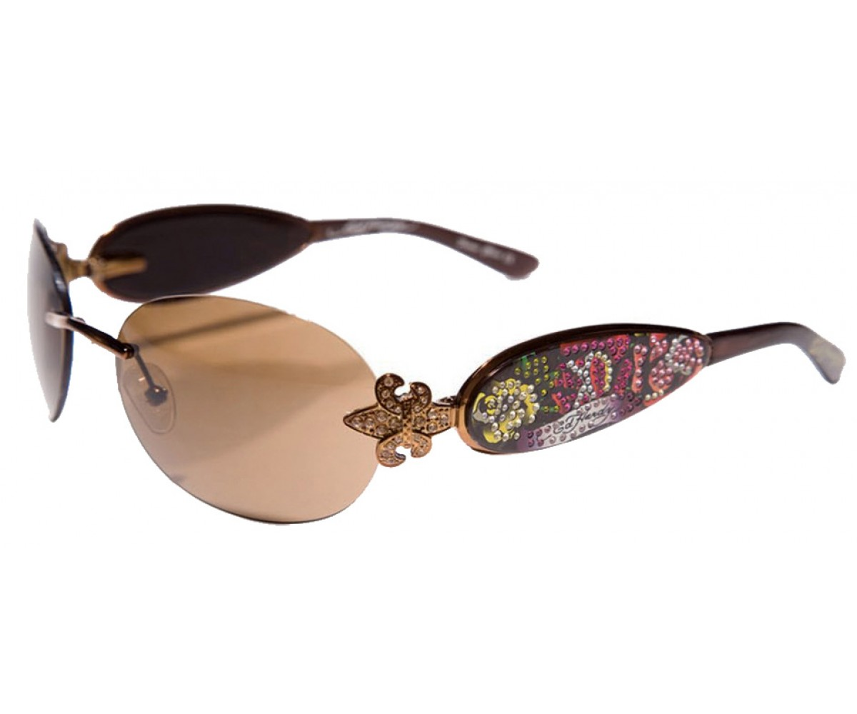 EHS-014 Three Old School Roses Sunglasses - Cocoa/Brown