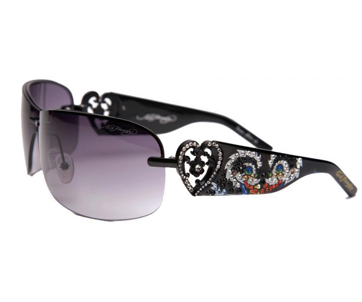 EHS-031 Skunk Black & Purple Sunglasses - Black/Gray