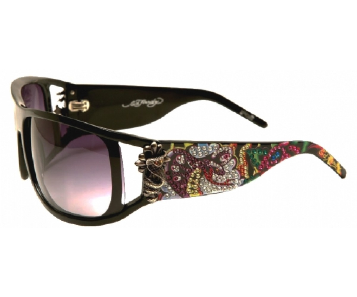 EHS-046 Snakes & Roses Sunglasses - Black