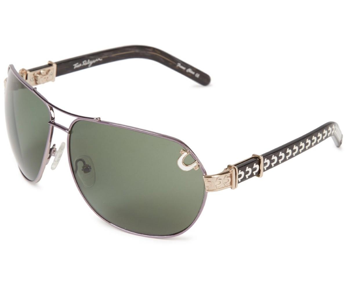 True Religion Dakota Aviator Sunglasses Shiny Gun and Satin Gold