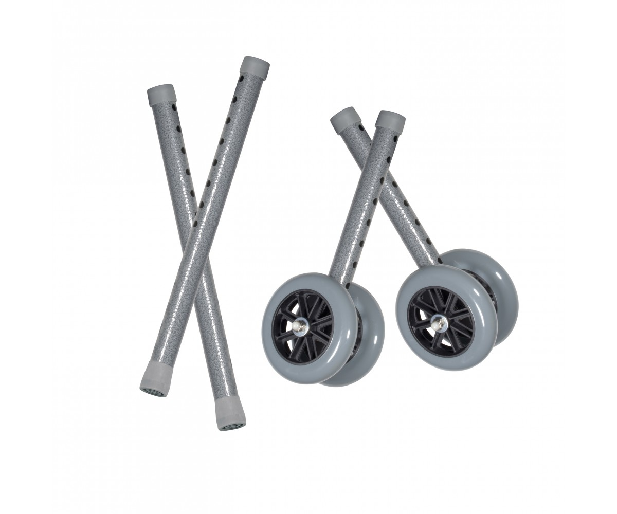 "Heavy Duty Bariatric 5"" Walker Wheels with Extension Legs"