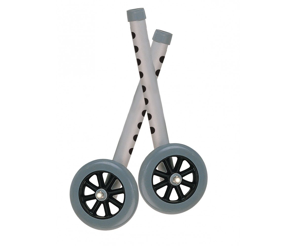 "5"" Gray Walker Wheels with Two Sets of Rear Glides for Use with Universal Walker"