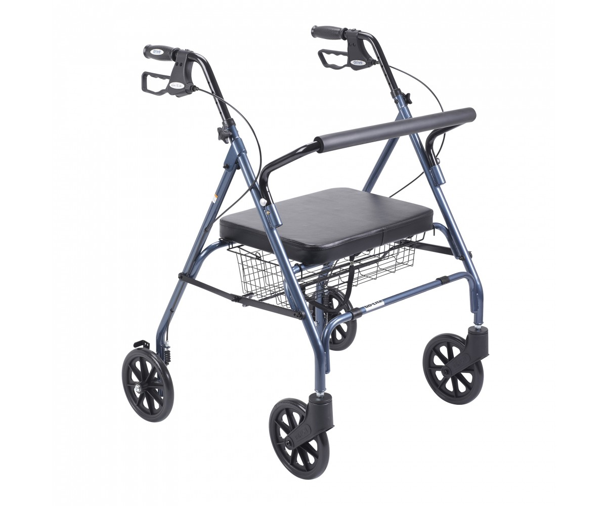 Heavy Duty Bariatric Blue Rollator Walker with Large Padded Seat