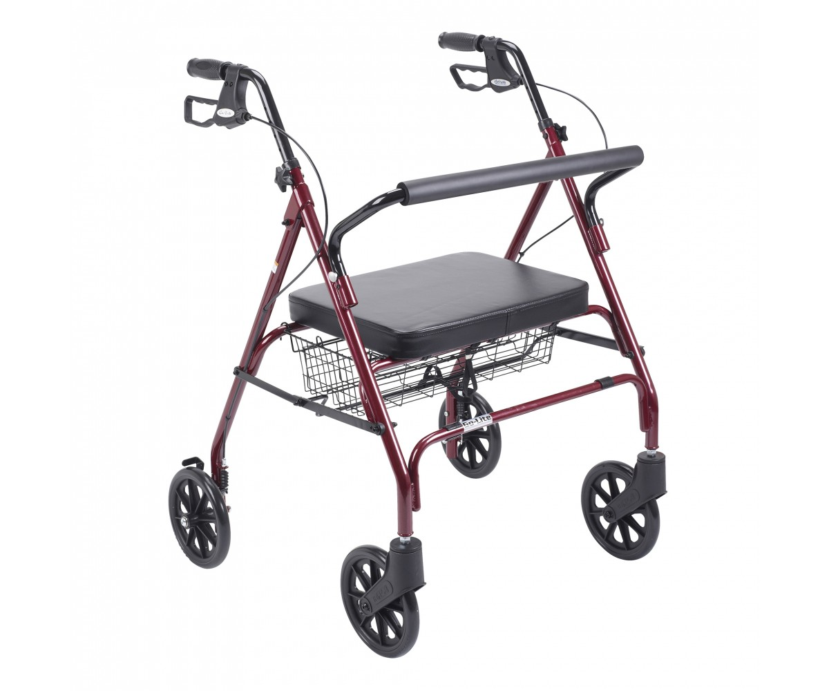 Heavy Duty Bariatric Red Rollator Walker with Large Padded Seat