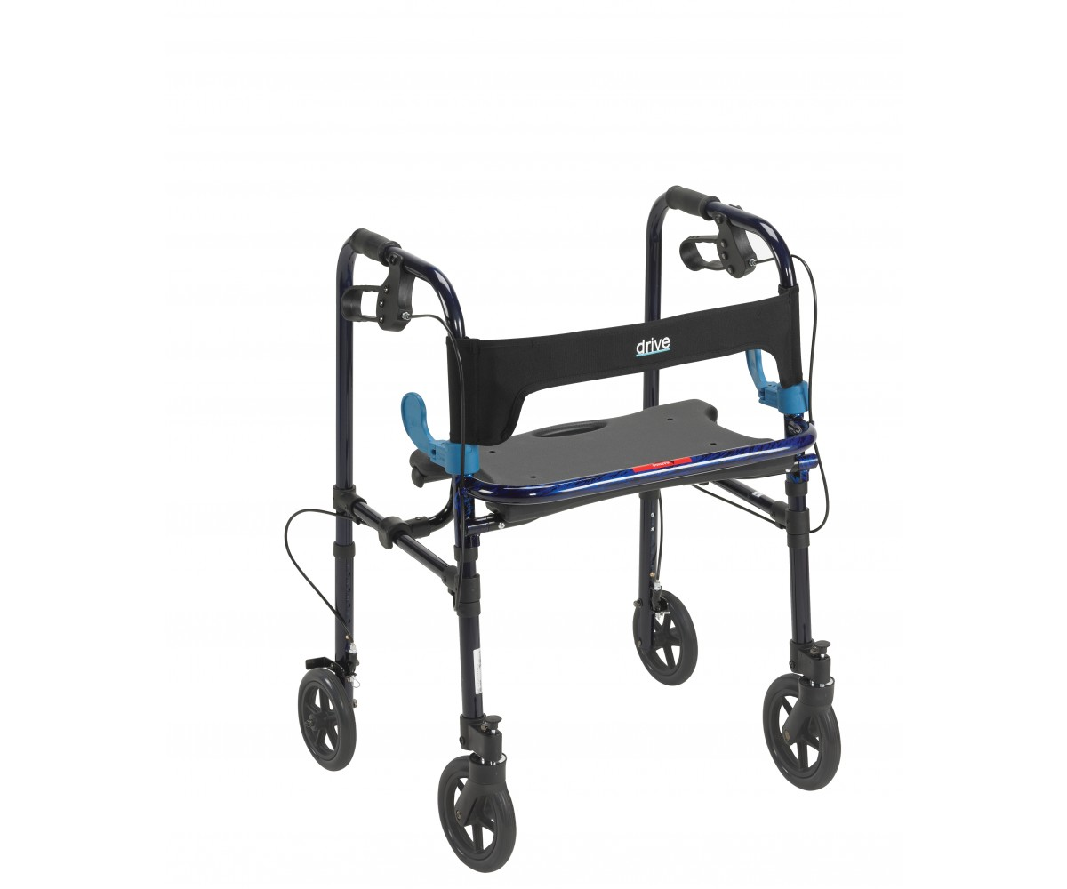 "Clever Lite Flame Blue Rollator Walker with 8"" Casters"