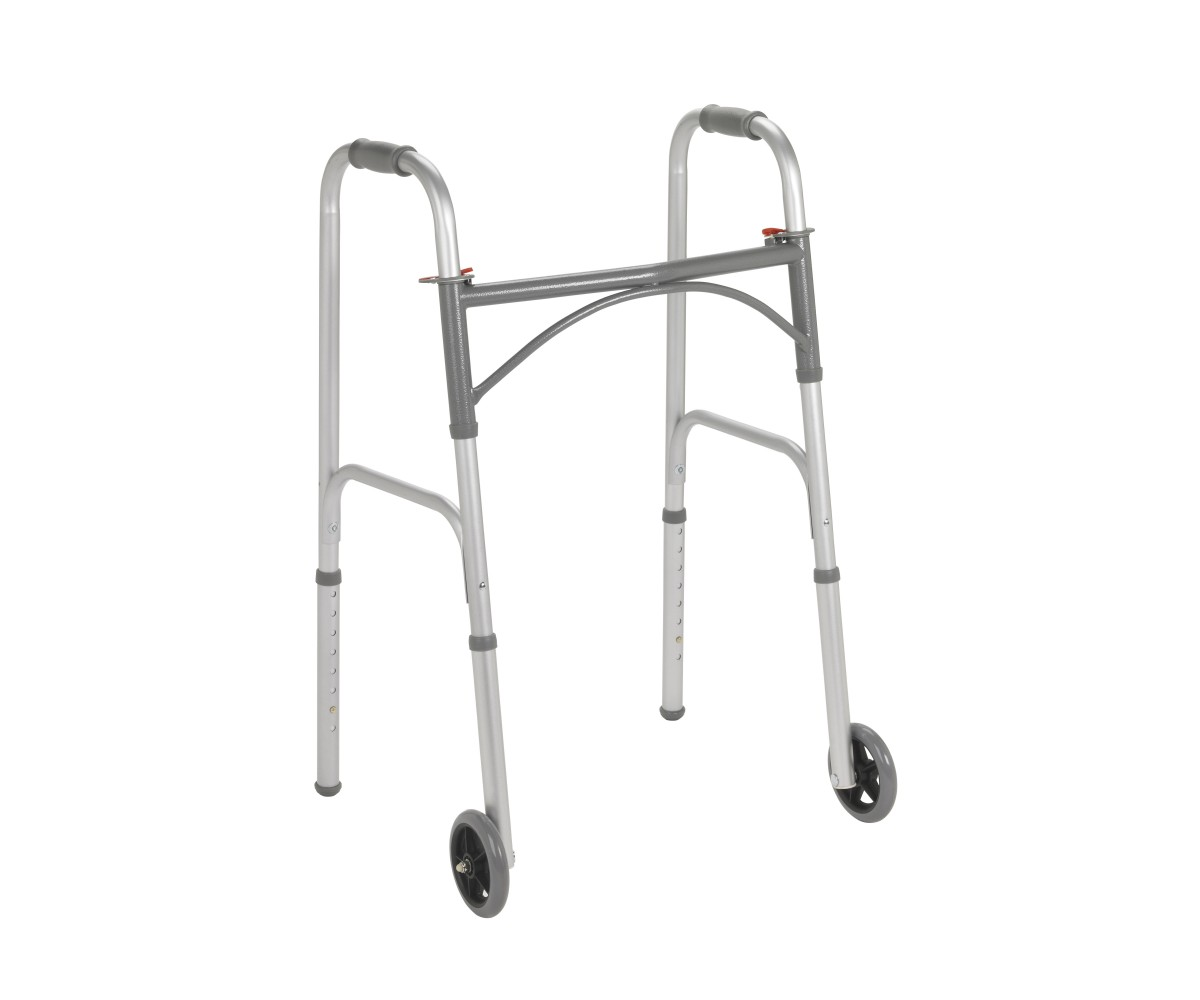 "Two Button Folding Steel Walker with 5"" Wheels"