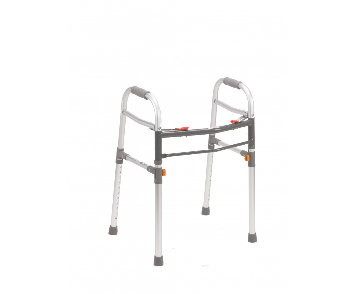 Two Button Gray Folding Universal Walker