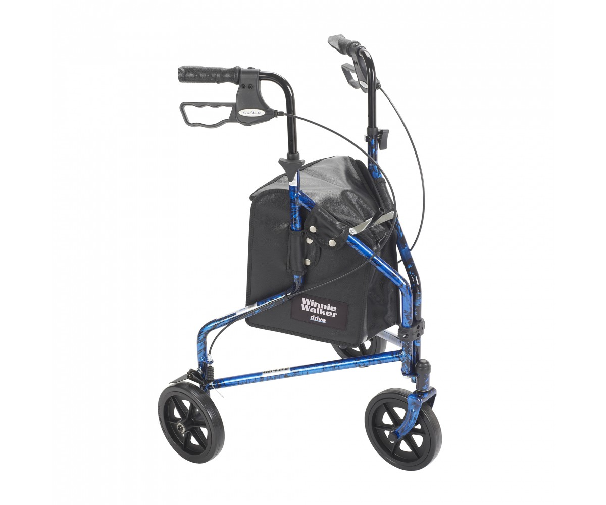 3 Wheel Flame Blue Rollator Walker with Basket Tray and Pouch