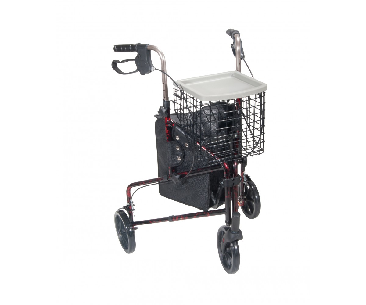3 Wheel Flame Red Rollator Walker with Basket Tray and Pouch