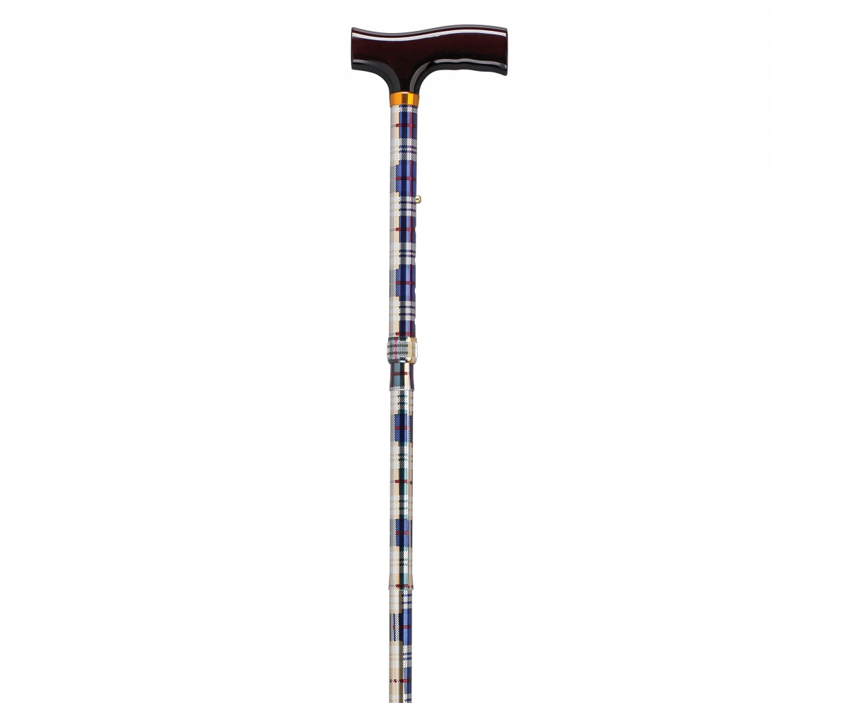 Lightweight Adjustable Computer Plaid Folding Cane with T Handle