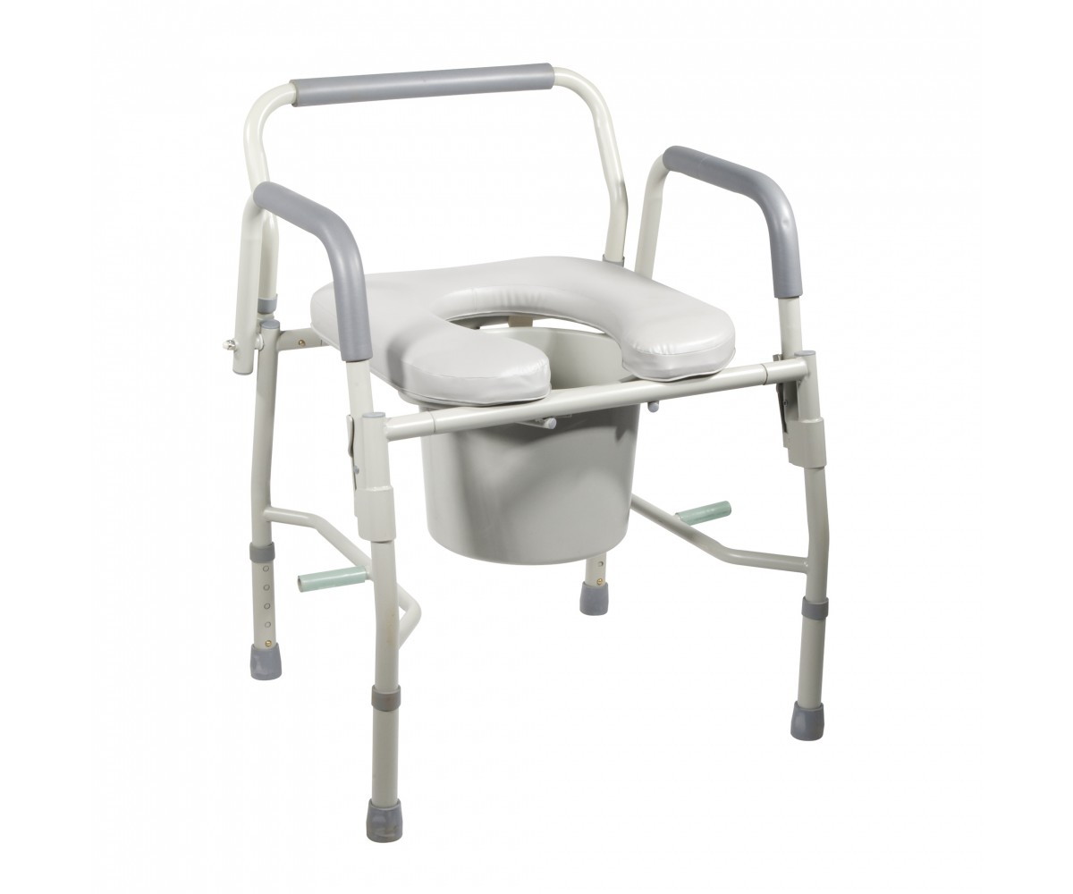 Steel Drop Arm Bedside Commode with Padded Seat & Arms