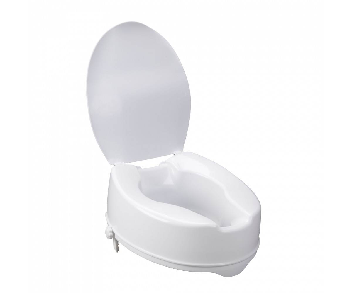 Raised Toilet Seat with Lock and Lid