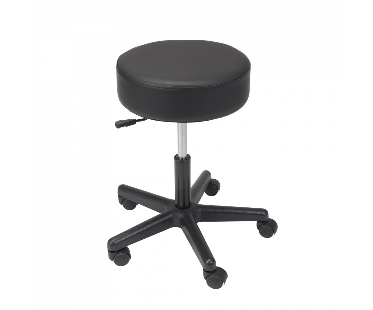 Padded Seat Revolving Pneumatic Adjustable Height Stool with Plastic Base