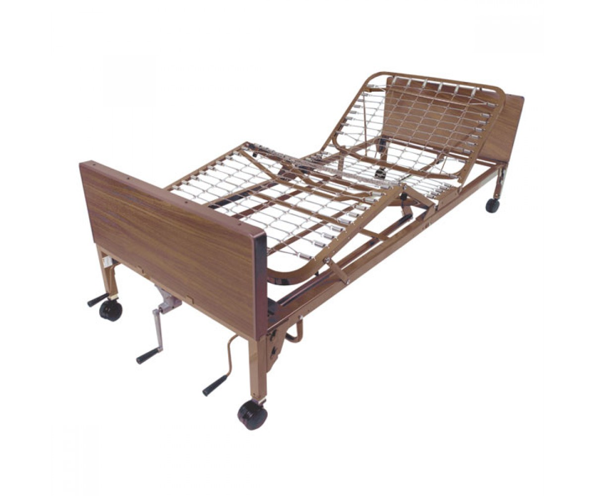 Multi Height Manual Hospital Bed with Full Rails