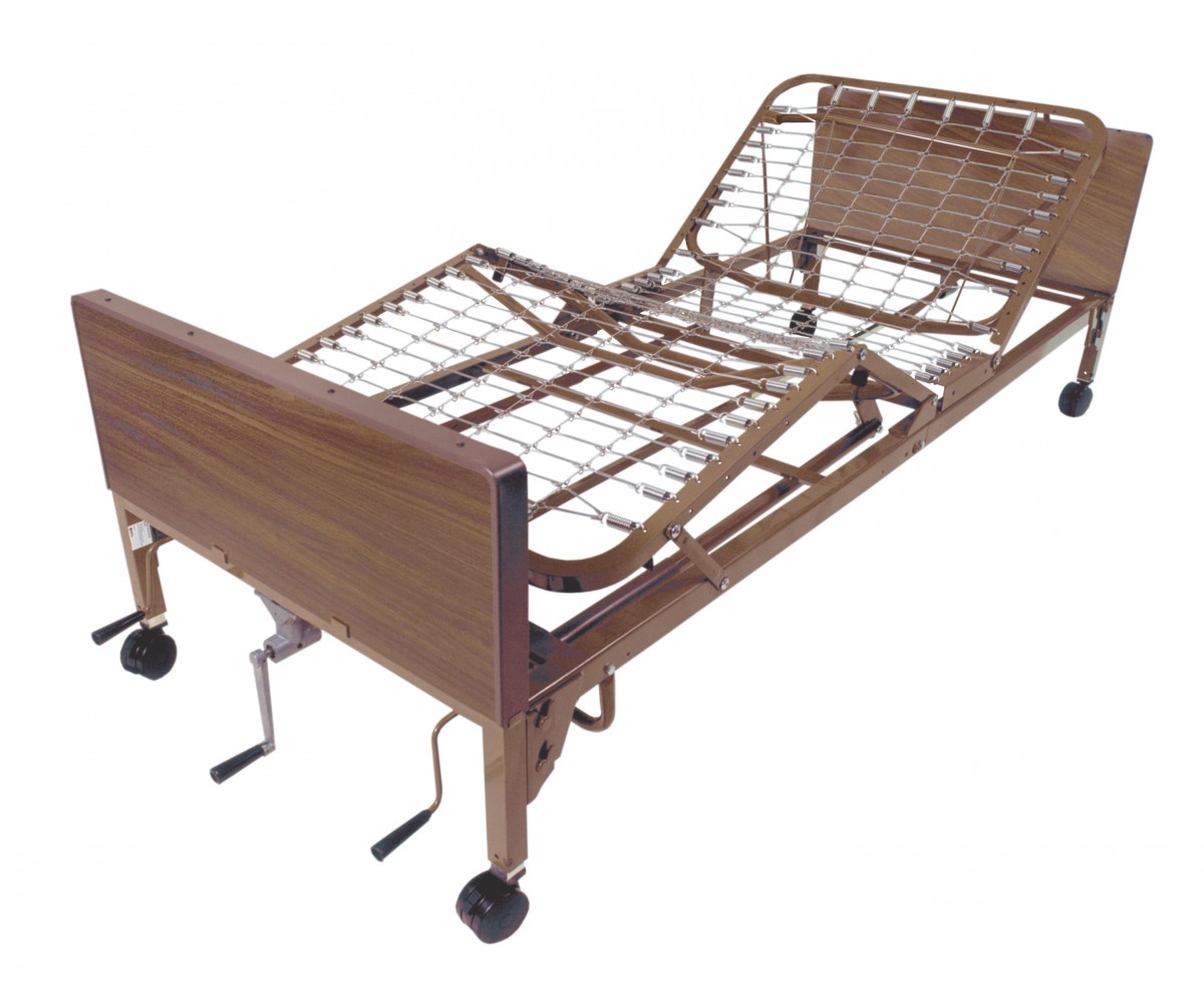 Multi Height Manual Hospital Bed with Half Rails and Innerspring Mattress
