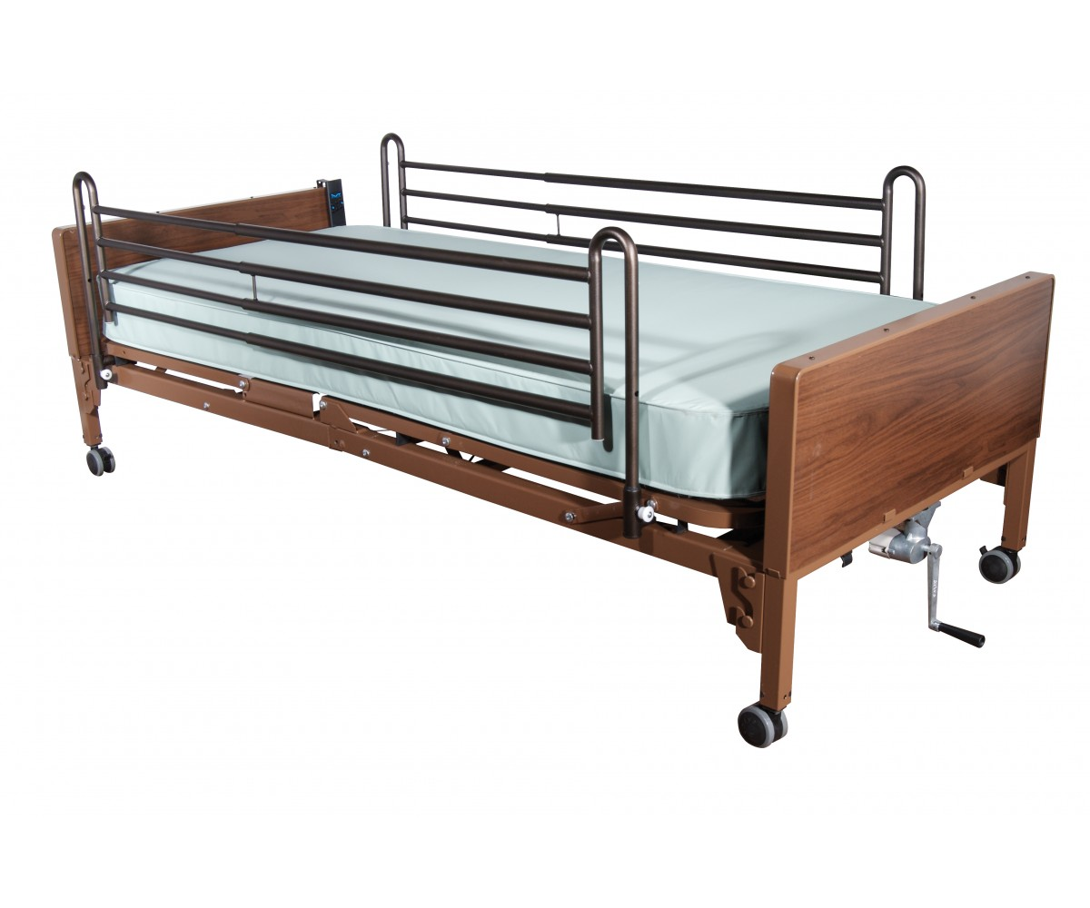 Semi Electric Bed with Full Rails and Therapeutic Support Mattress