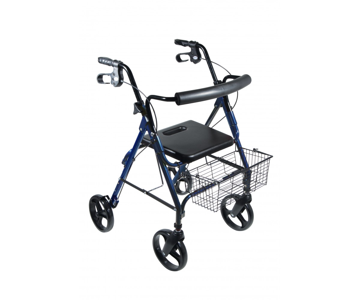 "DLite Blue Rollator Walker with 8"" Wheels and Loop Brakes"