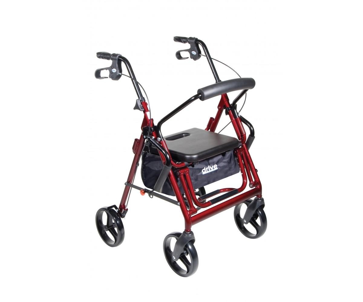 Duet Burgundy Transport Wheelchair Rollator Walker