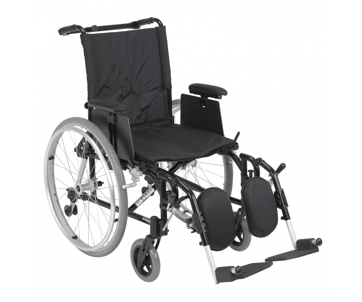 Cougar Ultra Lightweight Rehab Wheelchair with Detachable Adjustable Desk Arms and Elevating Leg Rest