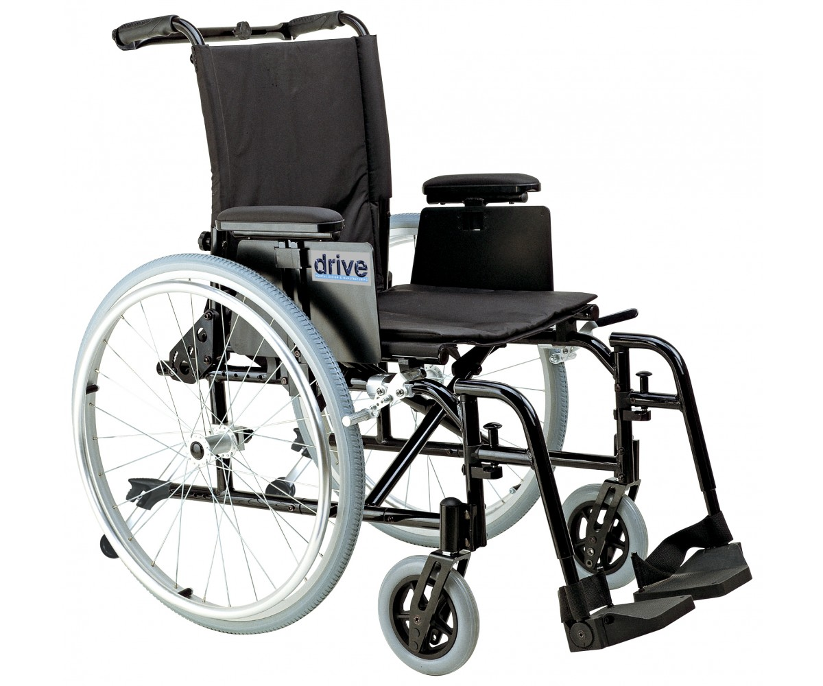 Cougar Ultra Lightweight Rehab Wheelchair with Detachable Adjustable Desk Arms and Swing Away Footrest
