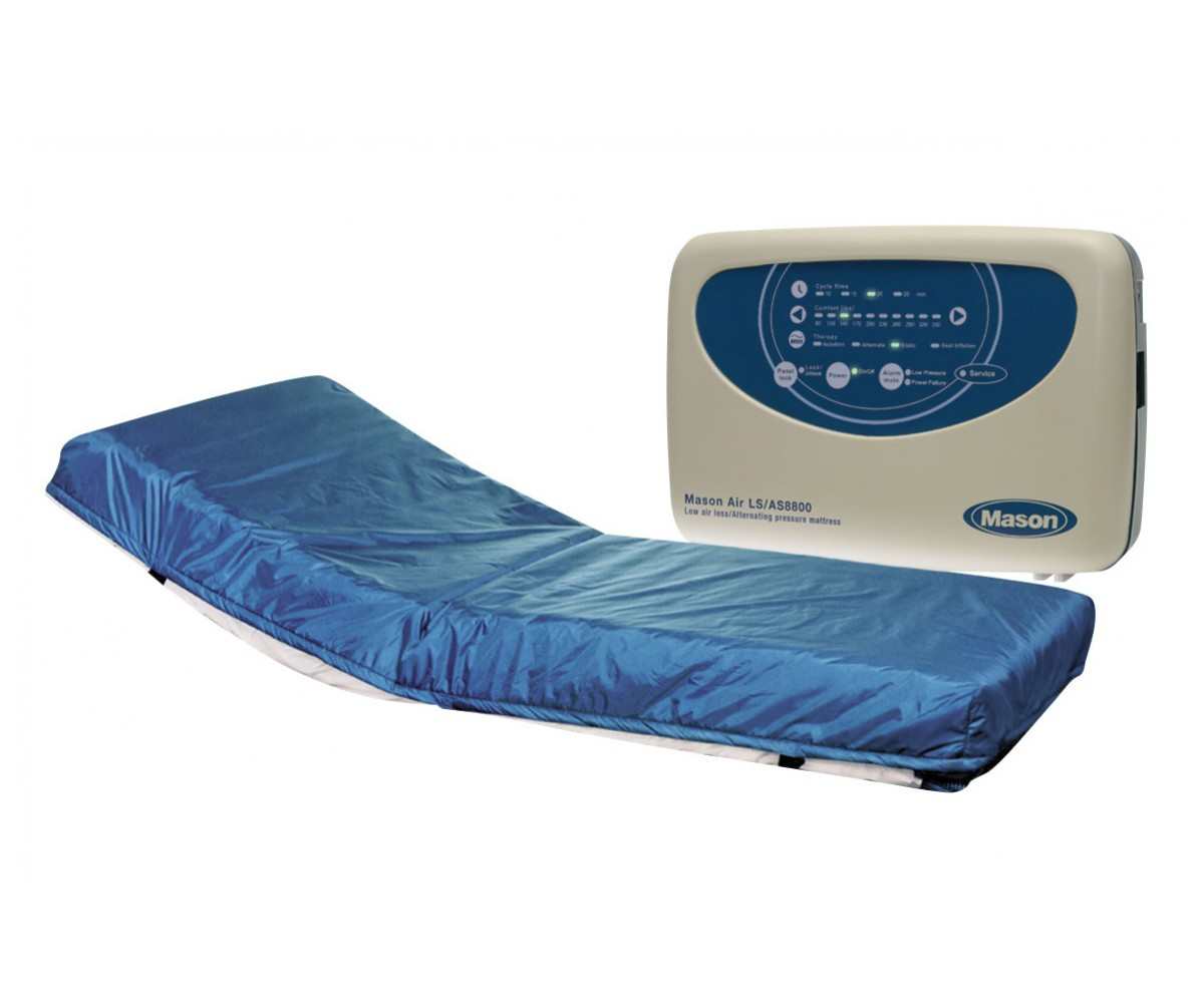 "Masonair 8"" Alternating Pressure and Low Air Loss Mattress System 80 Inch Raised Rails"