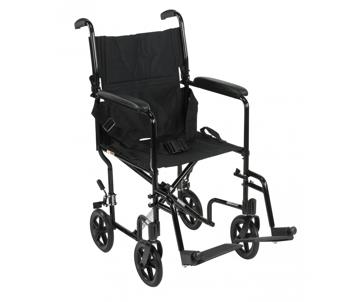 Lightweight Black Transport Wheelchair