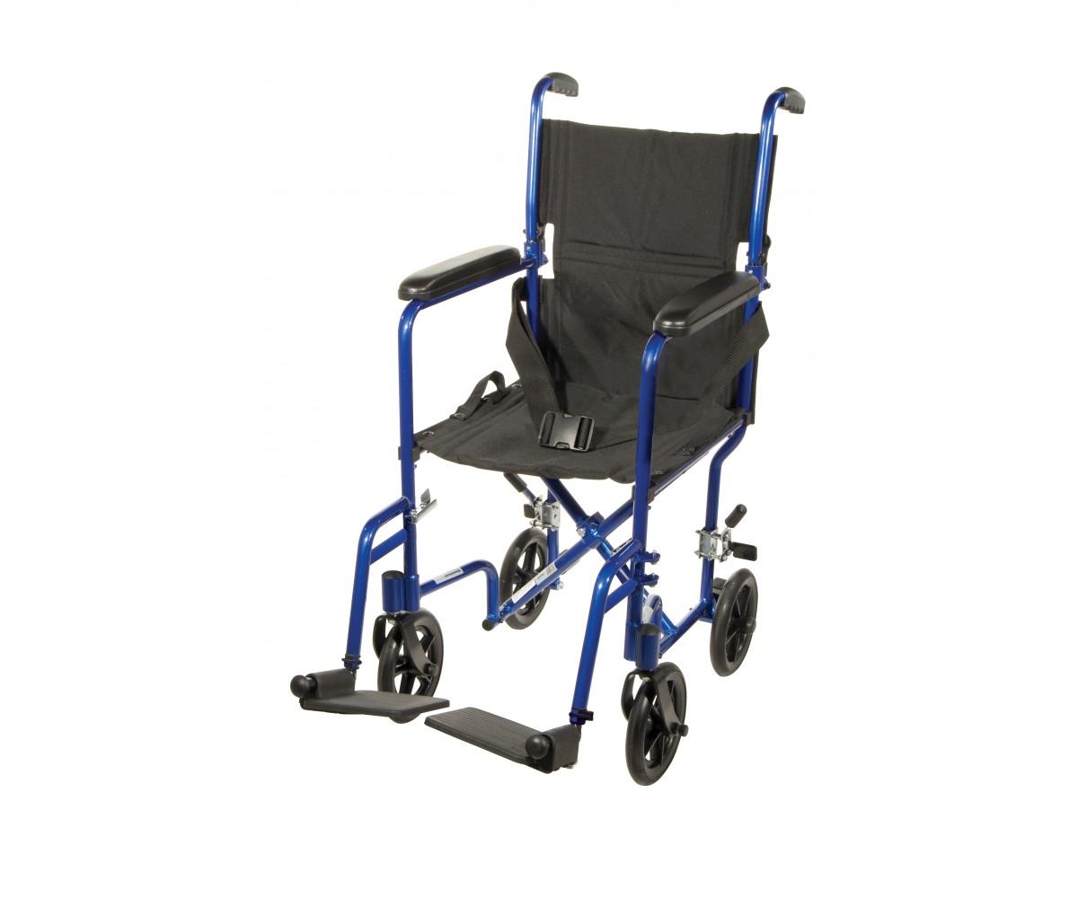 Lightweight Blue Transport Wheelchair