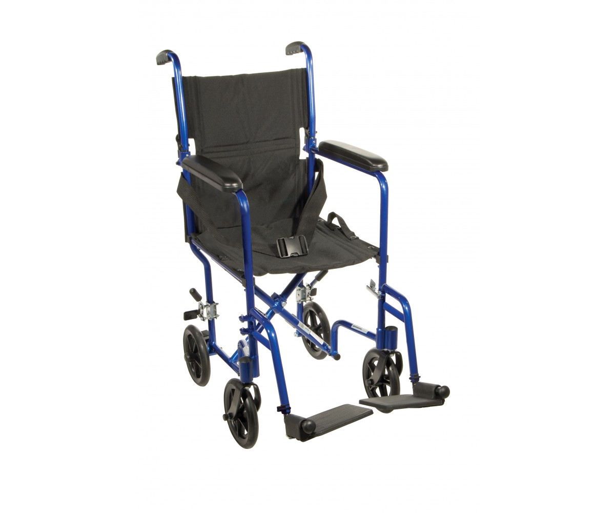 Lightweight Blue Transport Wheelchair