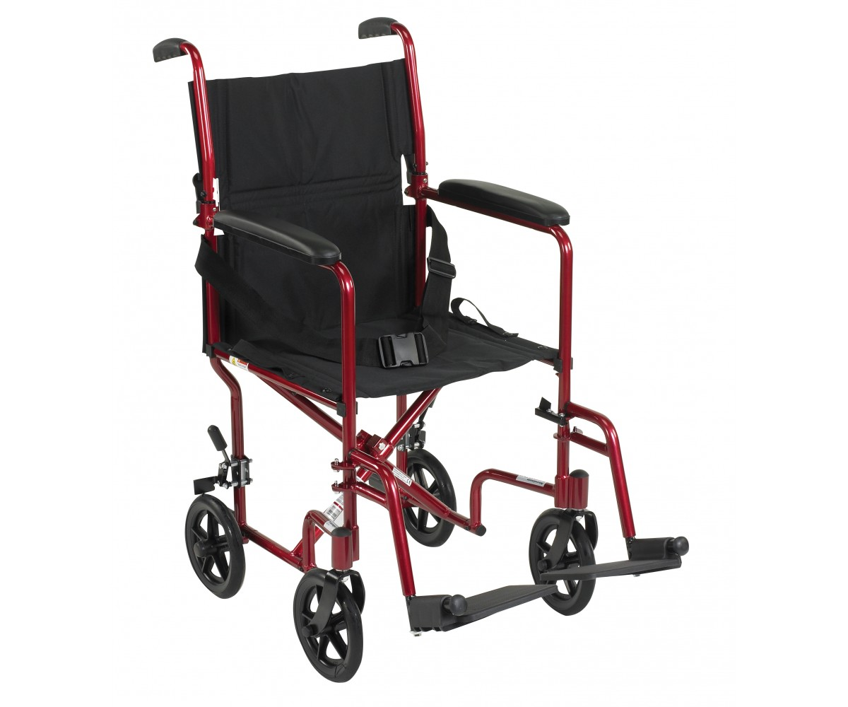 Lightweight Red Transport Wheelchair