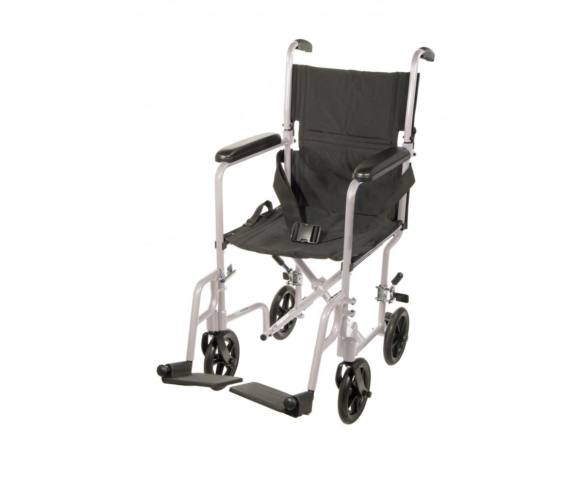 Lightweight Silver Transport Wheelchair