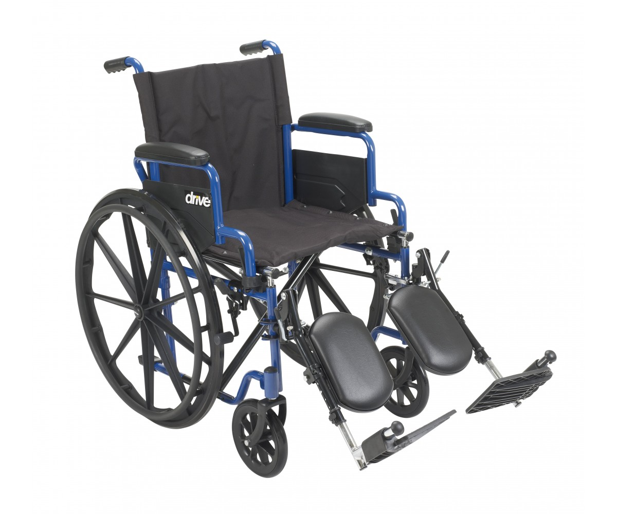 Blue Streak Wheelchair with Flip Back Desk Arms and Elevating Leg Rests