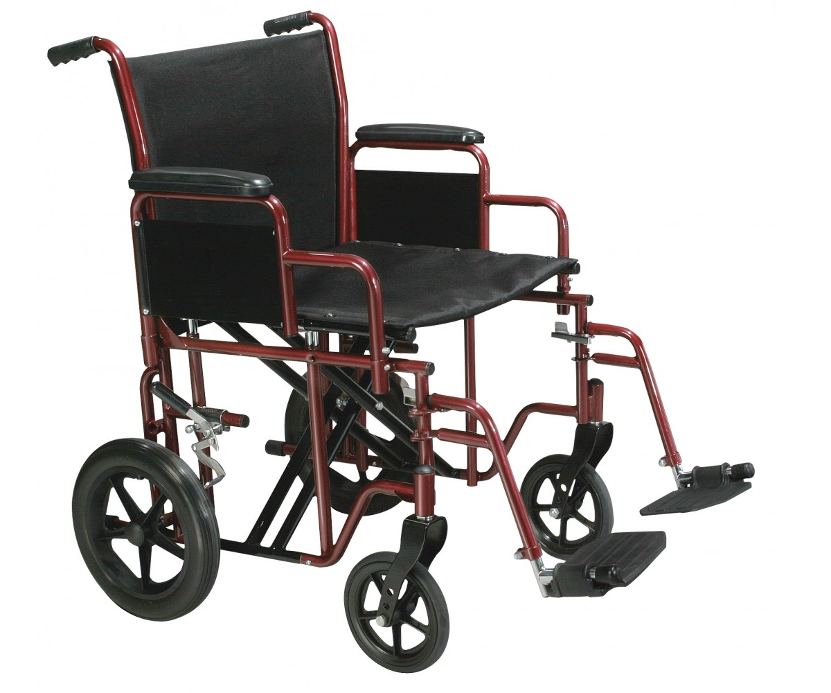 Bariatric Heavy Duty Red Transport Wheelchair with Swing Away Footrest