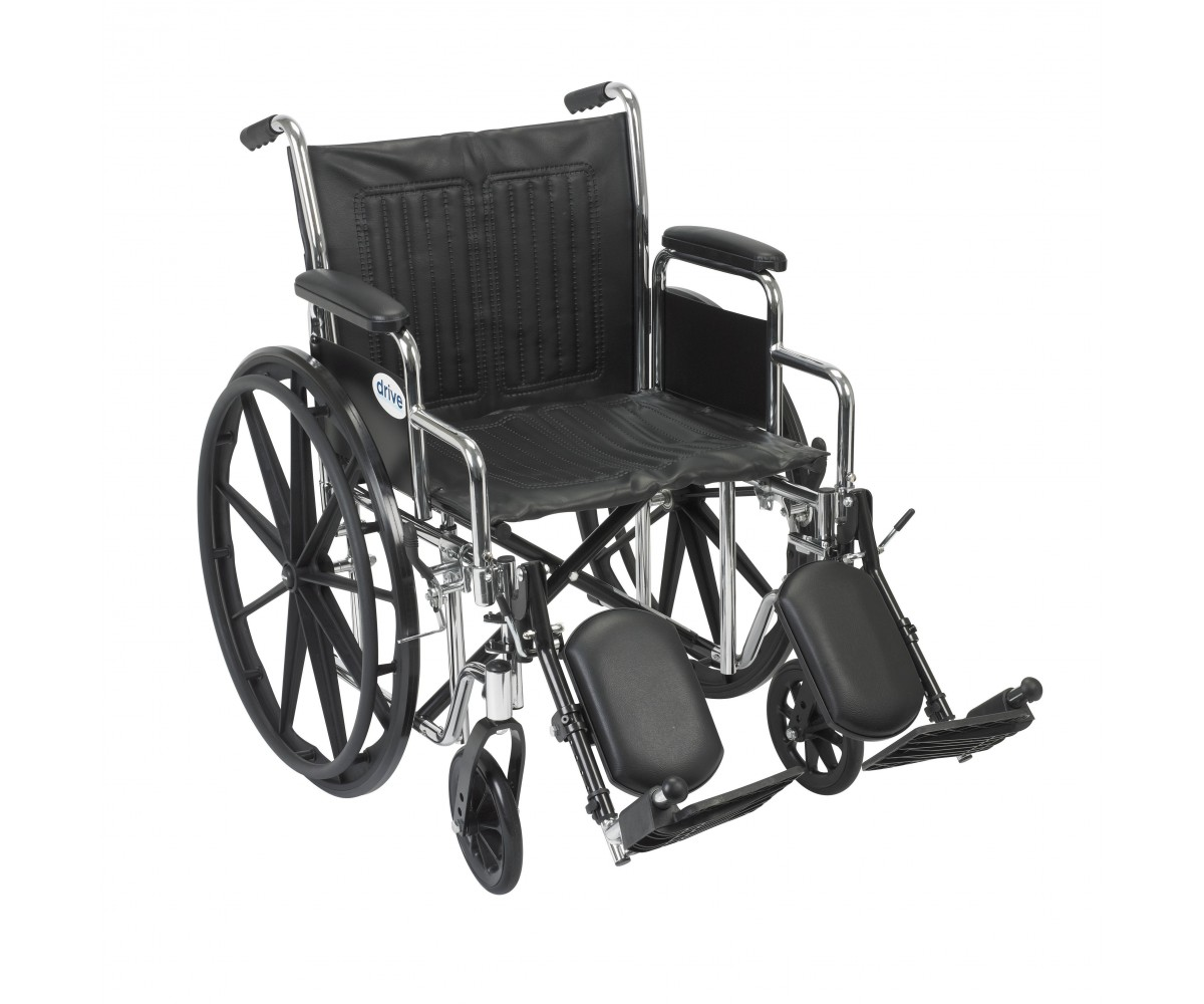 Chrome Sport Wheelchair with Detachable Desk Arms and Elevating Leg Rest