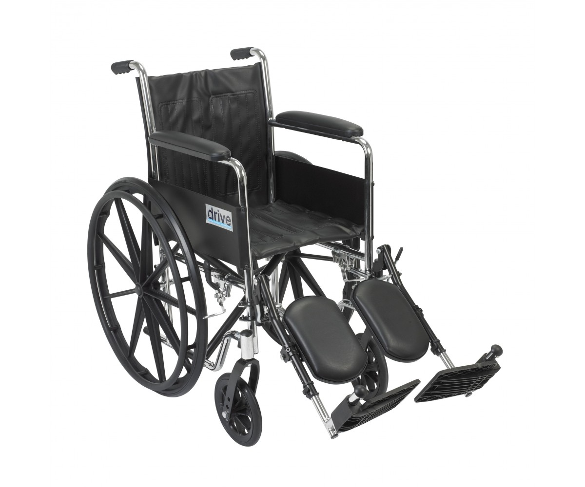 Chrome Sport Wheelchair with Full Arms and Elevating Leg Rest