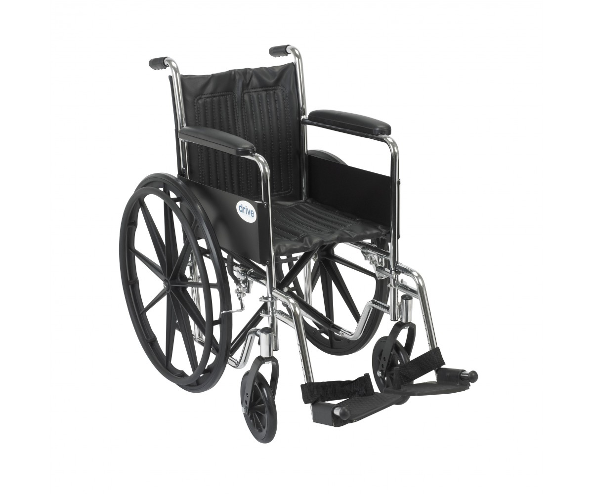 Chrome Sport Wheelchair with Full Arms and Swing Away Footrest