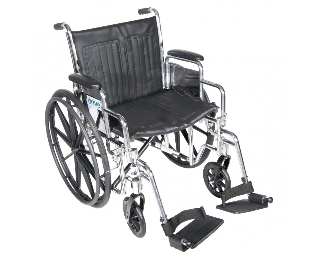 Chrome Sport Wheelchair with Detachable Desk Arms and Swing Away Footrest