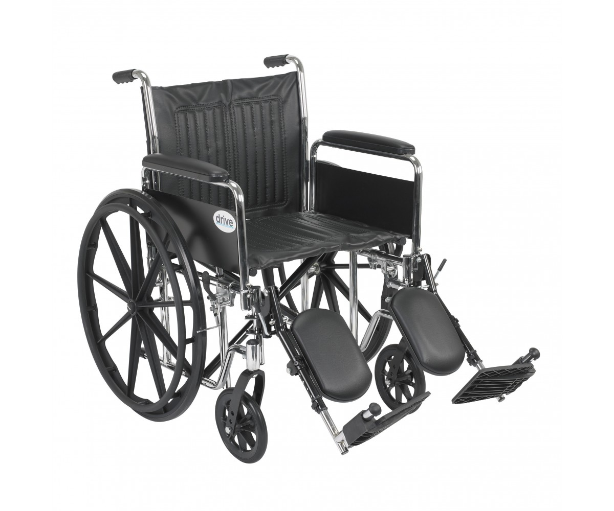 Chrome Sport Wheelchair with Detachable Full Arms and Elevating Leg Rest